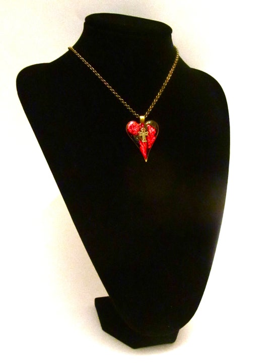 Gothic Heart Red Cross Pendant