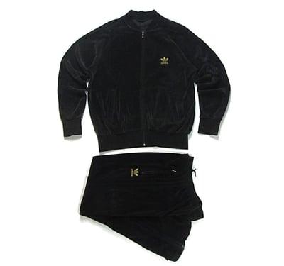 Image of Adidas Black Velour Tracksuit