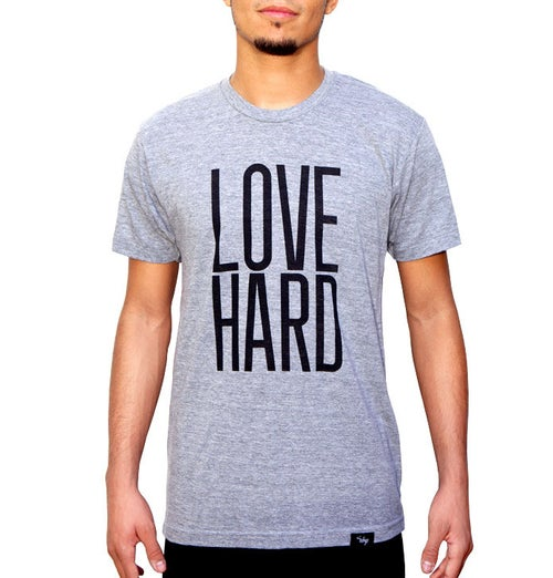 Image of Love Hard Tee (Athletic Grey)