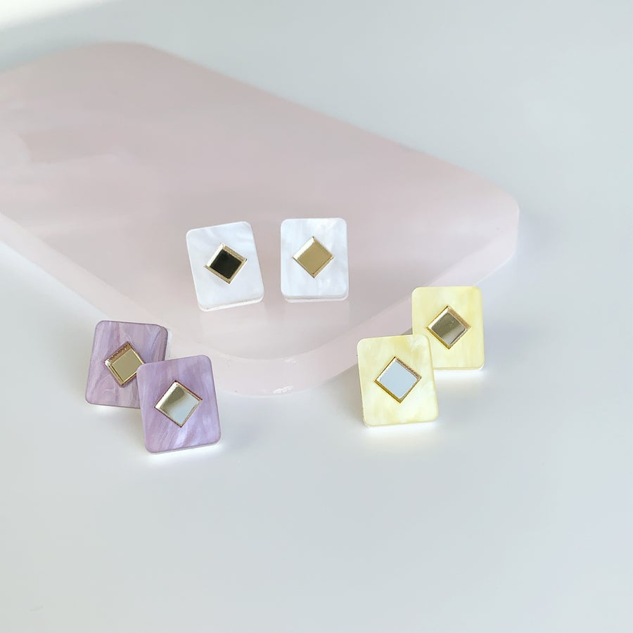 Image of Diamond Tile Studs