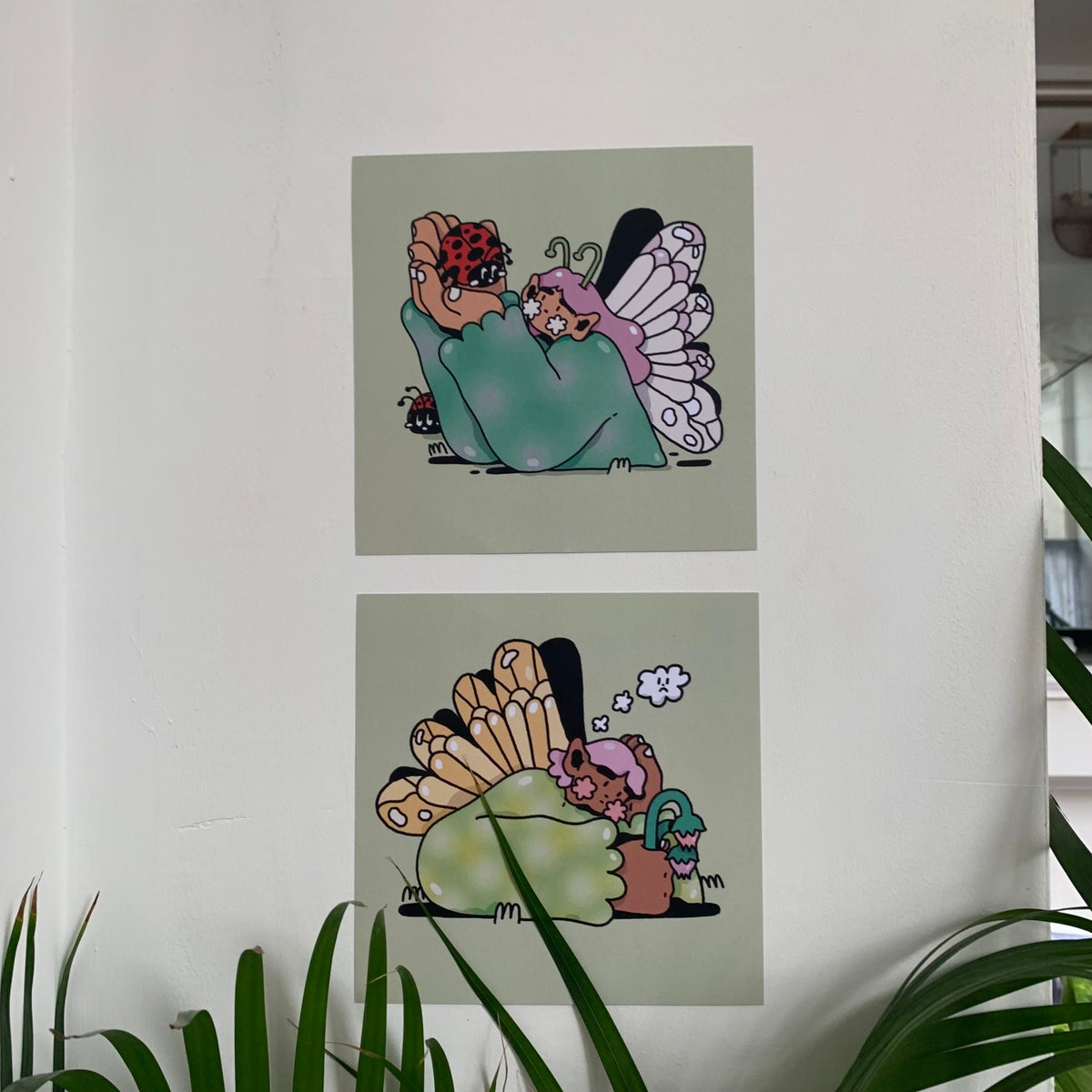 (2 options) 'Thoughtful fairies' - small square prints