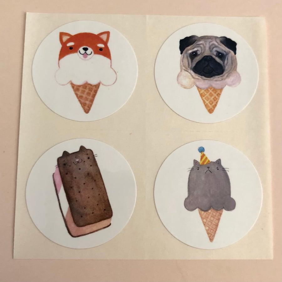 Image of animal ice cream stickers, volume 2 (small pack)