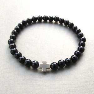 Image of Black Agate And Cross Beaded Bracelet