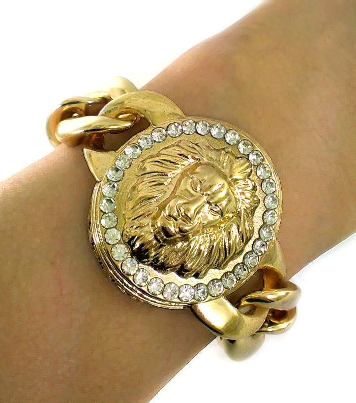 e0cfee66ac2 A WISE JEWEL — Lion Head Bracelet Gold and Crystal