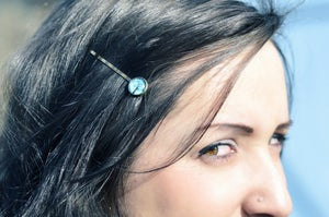 Image of Barrette cheveux illustration sous verre fleur