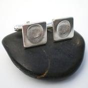 Image of Silver Fingerprint Square Cufflinks