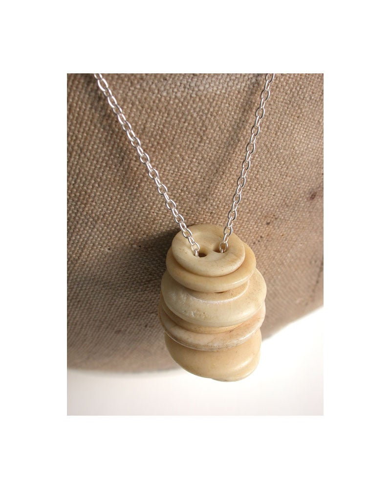 Image of button stack necklace