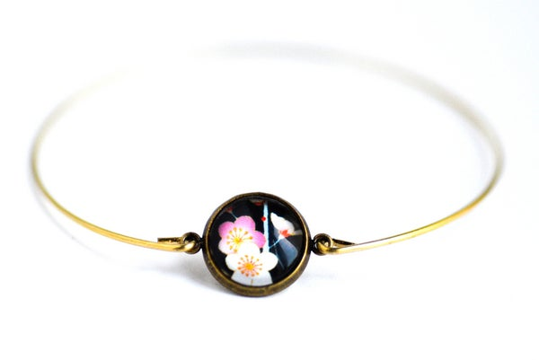 Image of Bracelet fin illustration fleur Japon