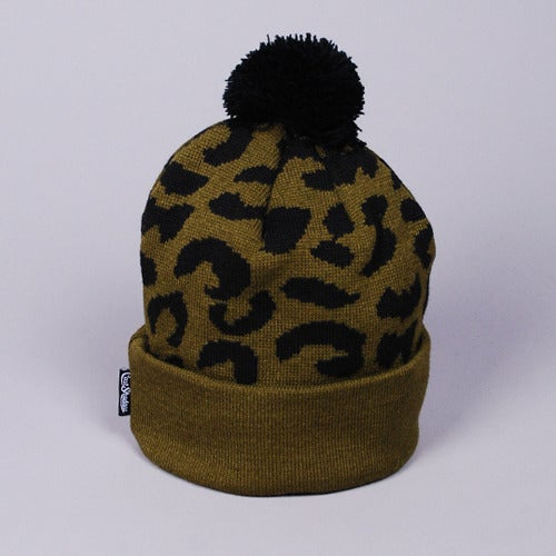 Image of Gato Jacquarded Knit Beanie (Olive)