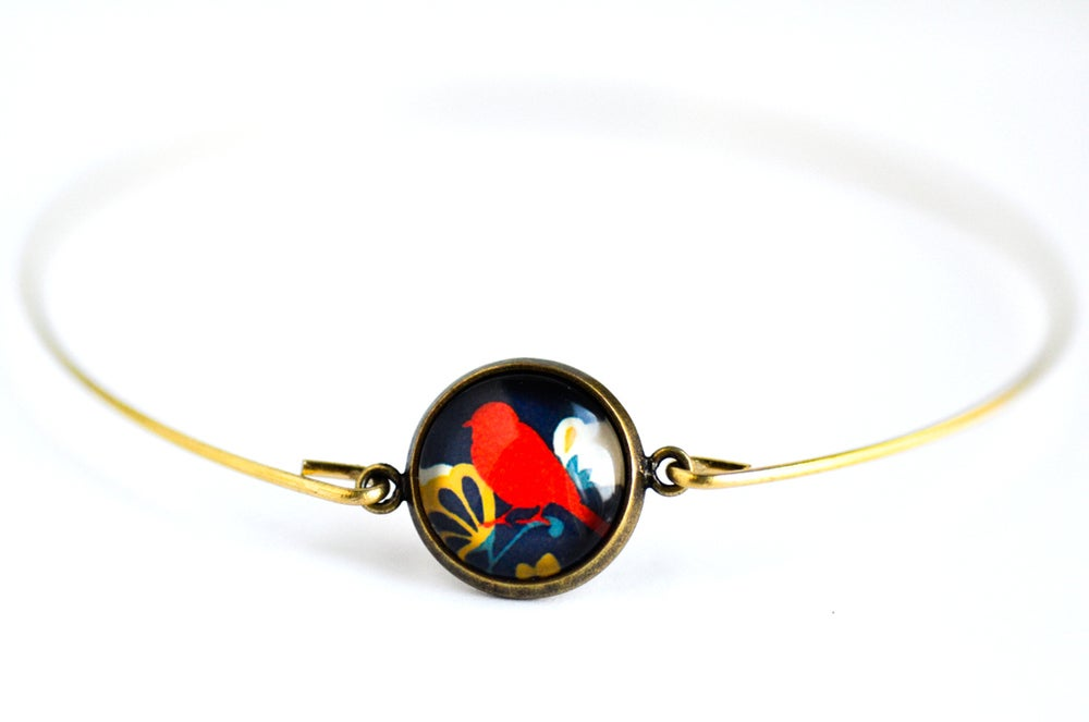 Image of Bracelet fin illustration oiseau Japon