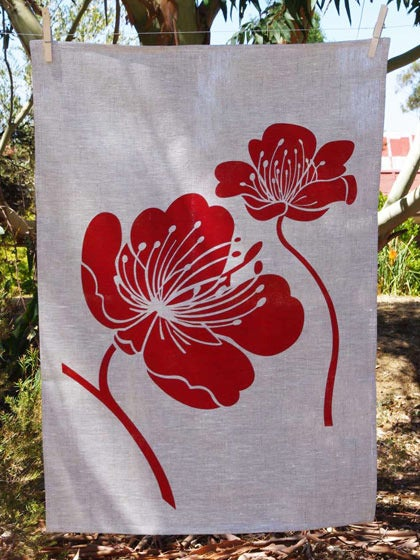 Image of Red Poppy Tea Towel