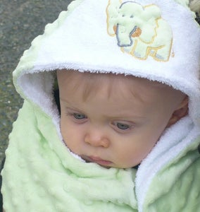 Image of Yellow giraffe -Double sided Hooded Towel -absorbent on the inside snuggly on the outside