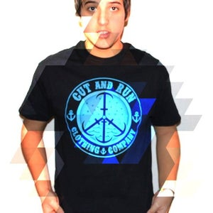 Image of PEACE AND ANCHORS TEE - BLACK