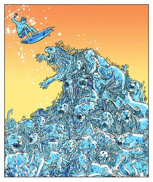 Image of Orange Lion Wave Variant Art Print