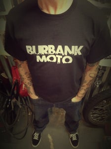 Image of NEW! Burbank Moto Men's Tee.     WHITE on BLACK