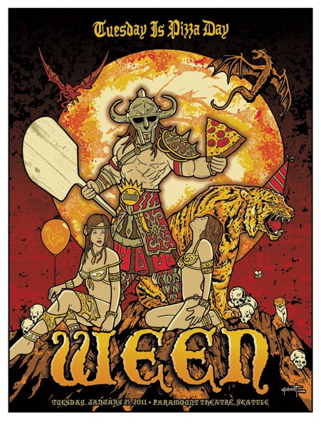 Image of Ween Seattle Pizza Day Red Edition Poster 2011