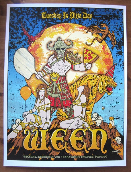 Image of Ween Seattle Pizza Day Blue Variant Poster 2011