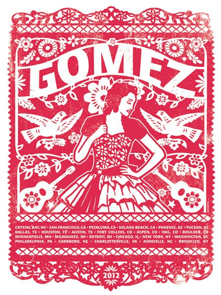 Image of Gomez Band Red Main US Tour Poster 2012