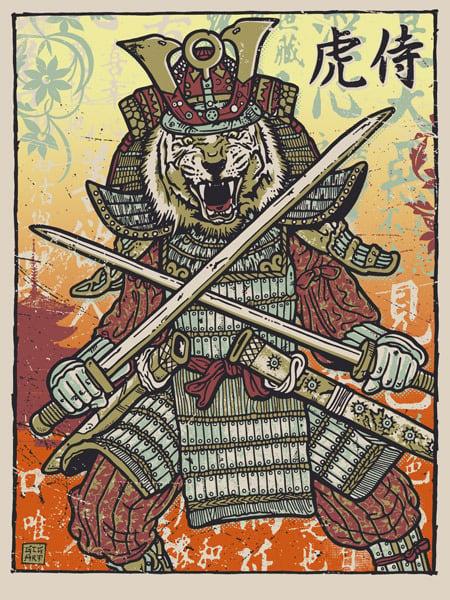 Image of Samurai Tiger Warrior Crossed Swords Print