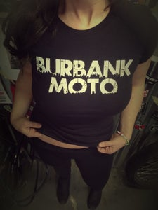 Image of NEW! Burbank Moto Woman's Tee.  WHITE on BLACK