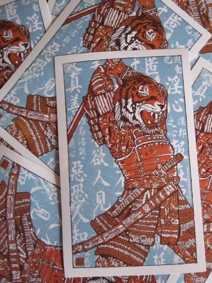 Image of Samurai Tiger Attack Vinyl Sticker