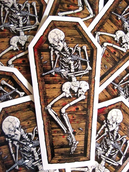 Image of Skeleton Coffin Die Cut Vinyl Sticker
