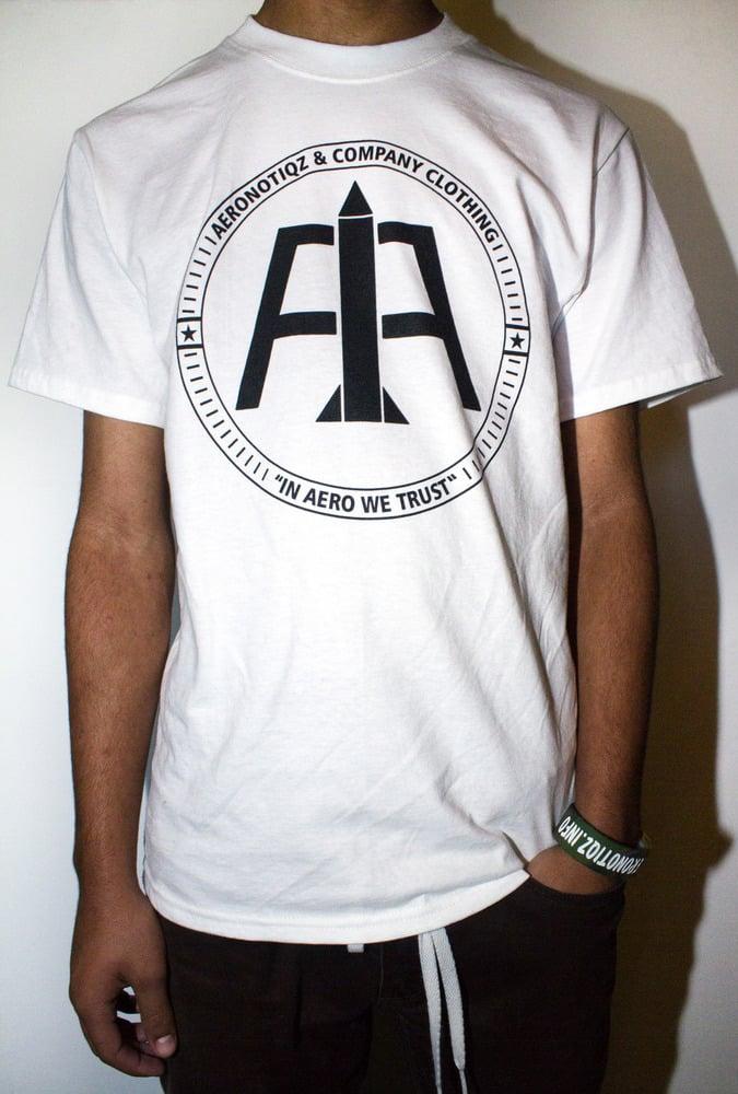 Image of White Aeronotiqz Logo Tee