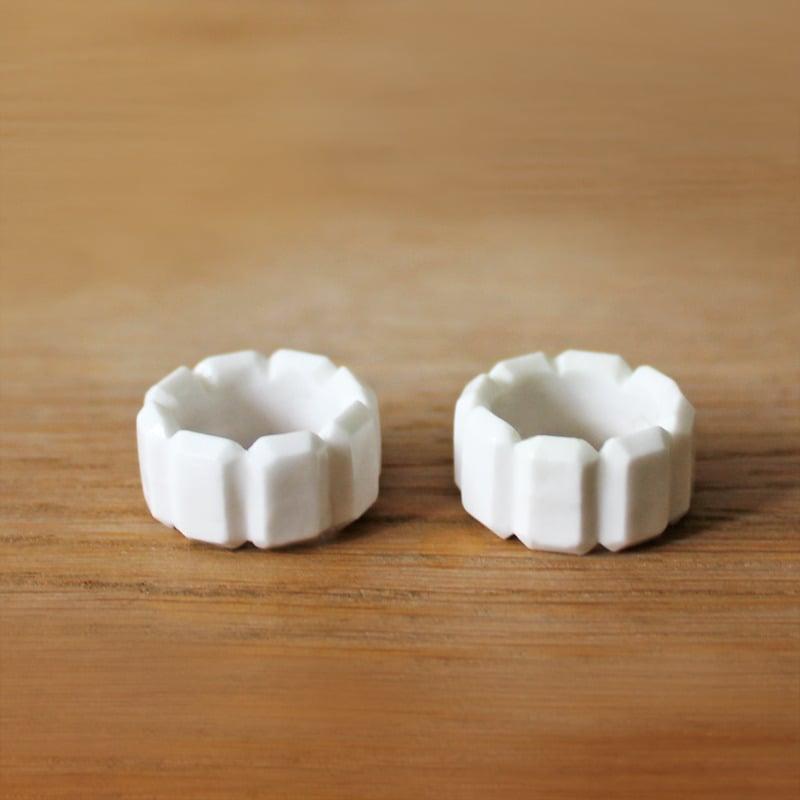 Image of Rectangle Diamond Bone China Ring