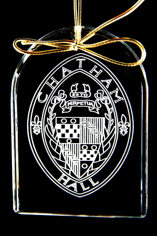 Image of Chatham Hall Seal Glass Ornament (shape of ornament is rectangular)