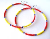 Image of African & Tribal Inspired Large Beaded Hoops - Red, Yellow with Silver, Deep Blue accents