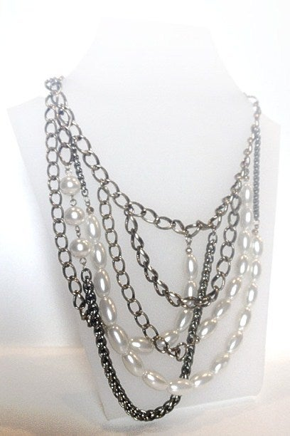Image of Exclusive Antique Gold & Pearl Layer Necklace