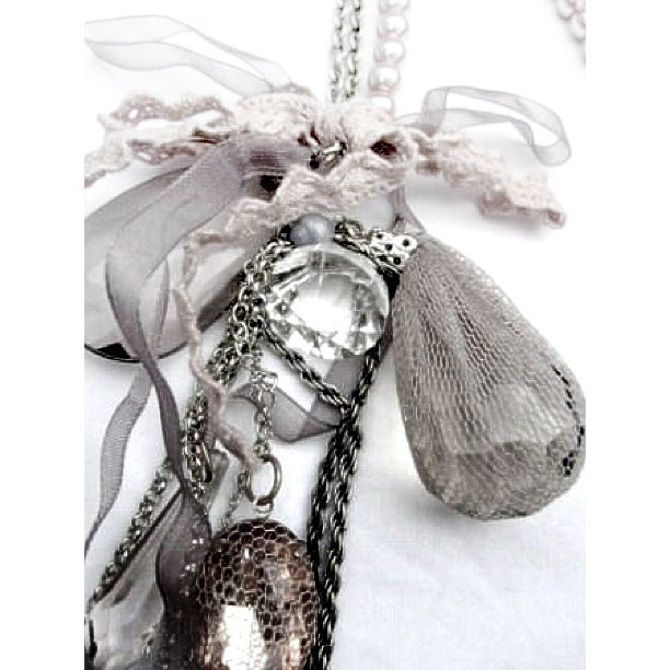 Image of EXCLUSIVE Lace Jewelled Ribbon Necklace