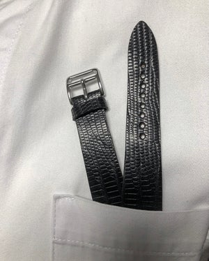 Image of Black Tegu extra thin watch strap - Hourglass Cut