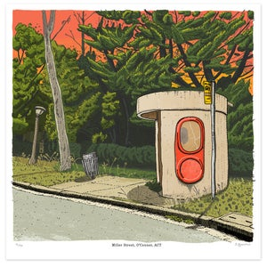 Image of Bus Shelter, Miller Street, O'Connor ACT Limited Edition Digital Print