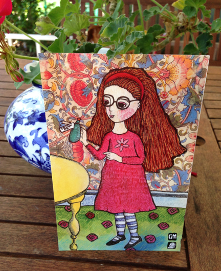 "Image of Drink me Alice. Small print 13.9cm x21.5cm.(nearly 5.5""x8.5"")"
