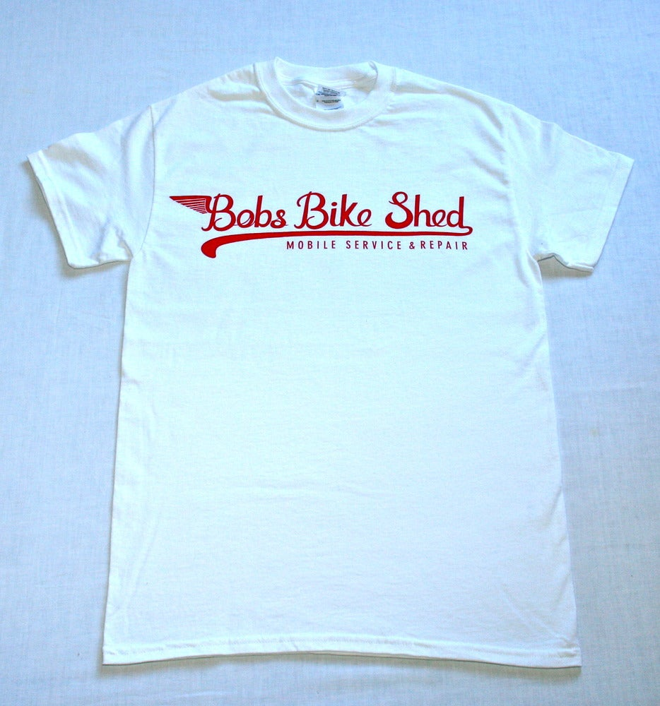 Image of Bobs Bike Shed T shirt in White