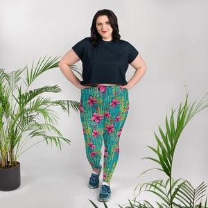 Image of Pink Flower Plus Size Leggings