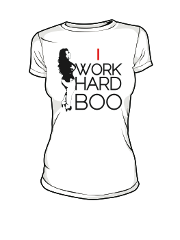 Image of I WORK HARD BOO (WHITE) w