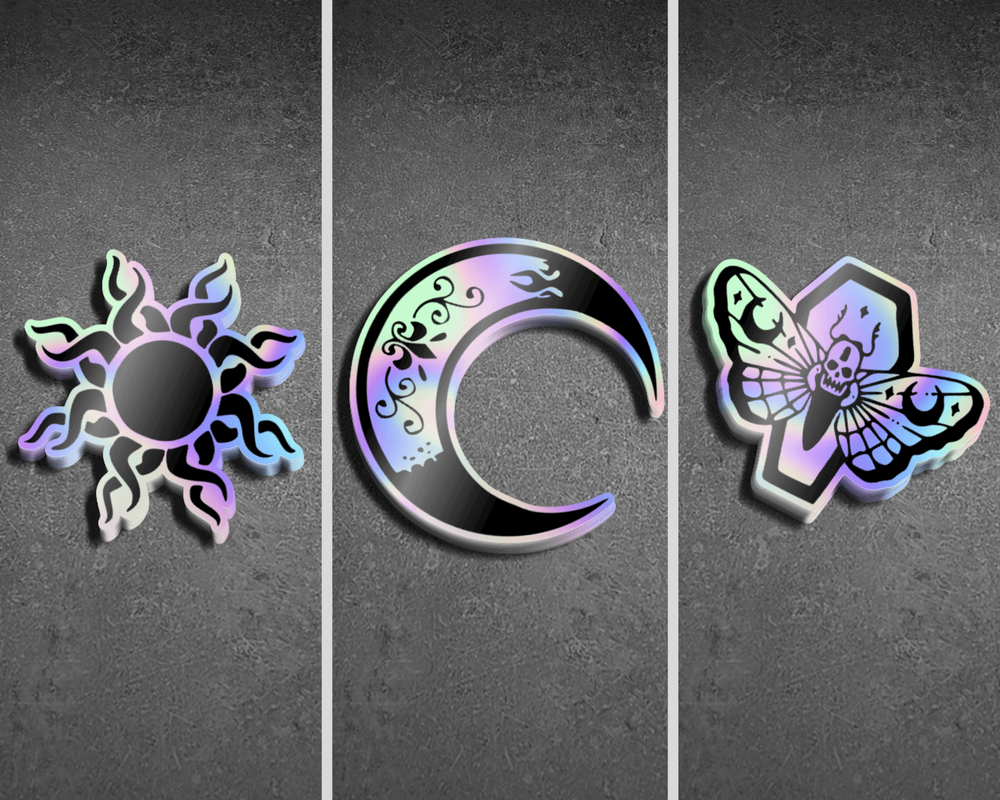 Image of Tarot Stickers - Sun, Moon, and Death