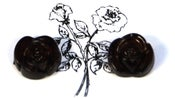 Image of Black Rose Earrings Large