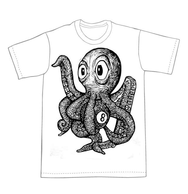 Octopus with an 8 Ball T-Shirt (B3) **FREE SHIPPING**