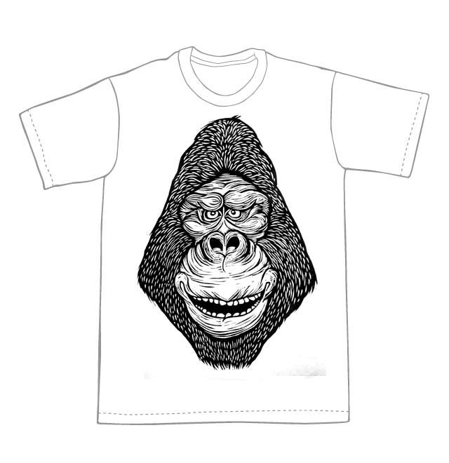 Gorilla Head T-Shirt (A3) **FREE SHIPPING**