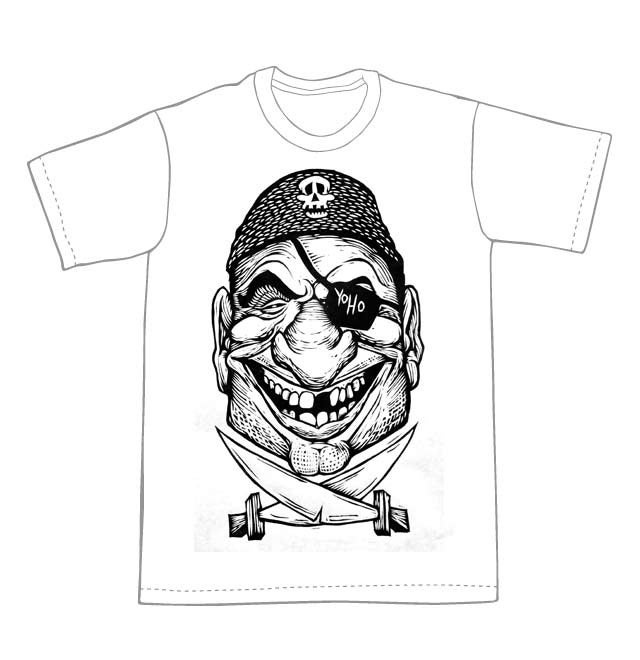 Pirate Head T-Shirt (A1) **FREE SHIPPING**