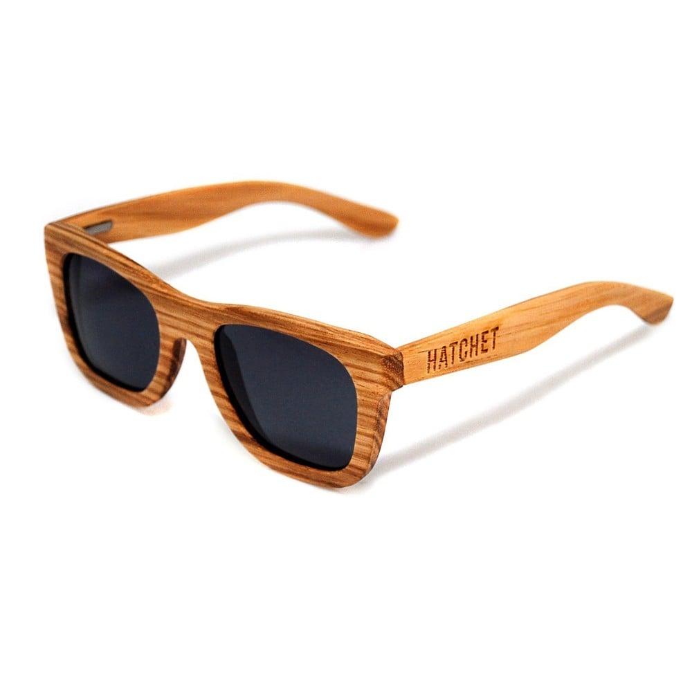 Woodsun hatchet eyewear — santa cruz zebrawood thick wayfarer wood sun glasses