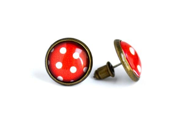 Image of Puce d'oreilles Minnie à pois intemporel rouge et blanc
