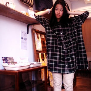 Image of 100% cotton checkered dress寬身格仔長衫code: 119