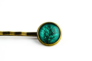 Image of Barrette cheveux illustration sous verre branchage Emeraude