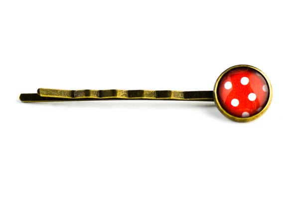 Image of Barrette cheveux illustration sous verre Pois rouge