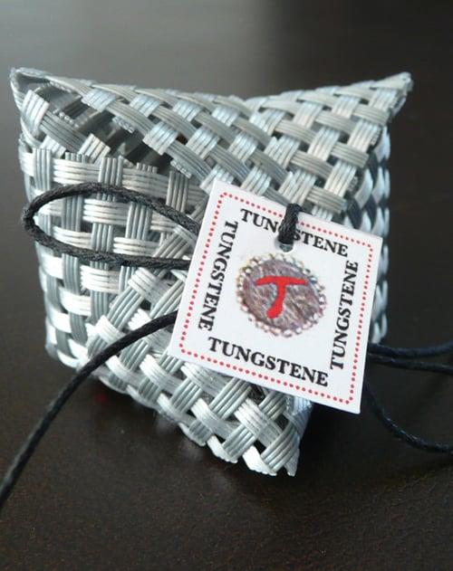 Image of Bracelet tissé cuir FOLK large ARGENT ET BRONZE