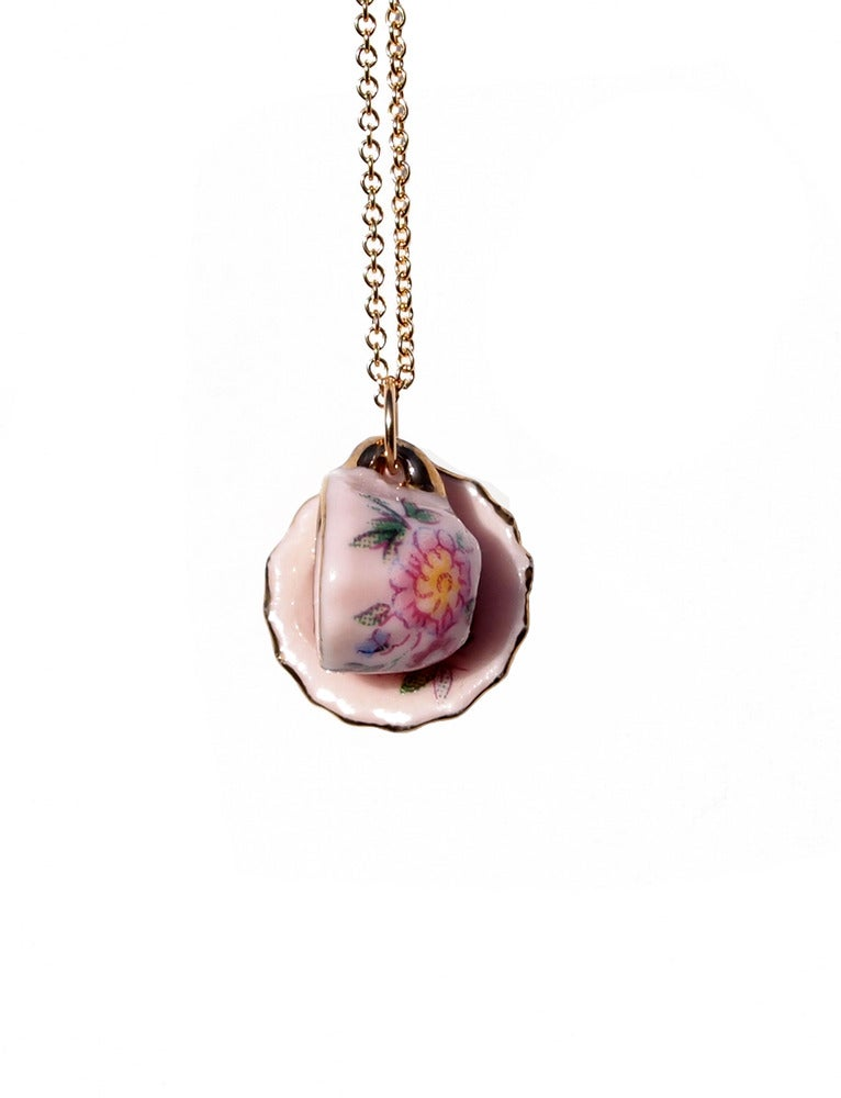 Image of cup and saucer necklace
